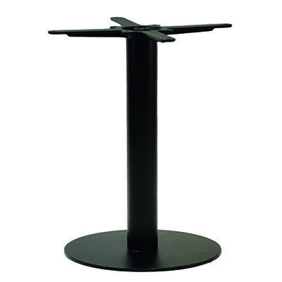 An image of NEXT DAY Forza Round Black Outdoor Cast Iron Table Base - Dining Height