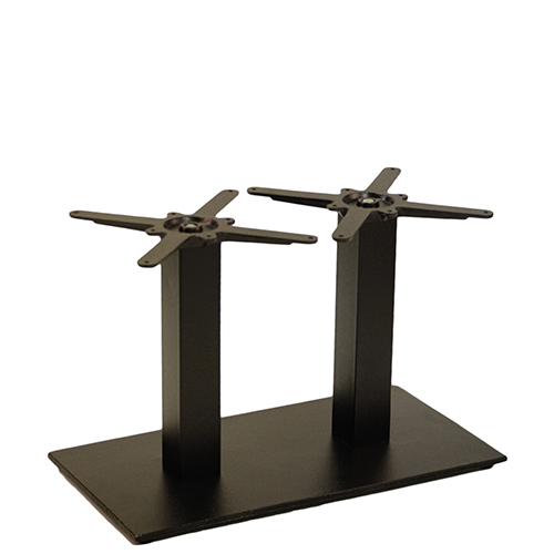 An image of NEXT DAY Forza Twin Pedestal Black Outdoor Cast Iron Table Base - Coffee Height