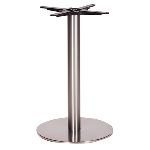 An image of NEXT DAY - Danilo Round Brushed Stainless Steel Table Base - Dining Height