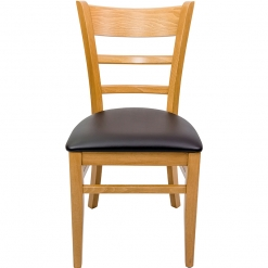 Oak Frame Side Chair with Brown Upholstered Seat Pad