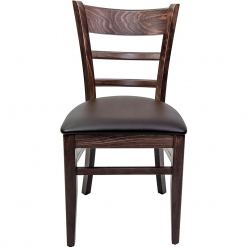Walnut Frame Side Chair with Brown Upholstered Seat Pad