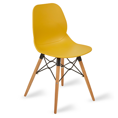 An image of Restaurant Furniture Side Chair Shoreditch Mustard - Wooden Frame