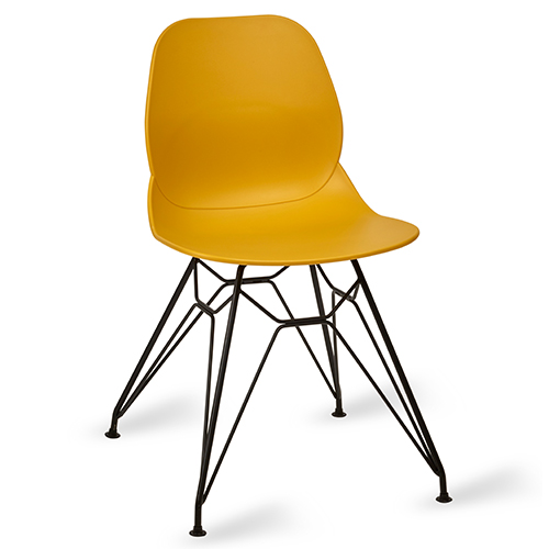 An image of Restaurant Furniture Side Chair Shoreditch Mustard - Black Metal Frame