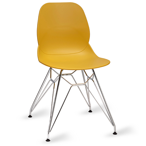 An image of Restaurant Furniture Side Chair Shoreditch Mustard - Chrome Frame
