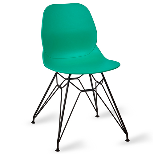 An image of Restaurant Furniture Side Chair Shoreditch Turquoise - Black Metal Frame