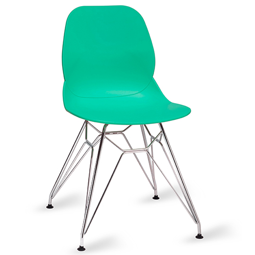 Shoreditch Turquoise Side Chair U2013 Chrome Frame