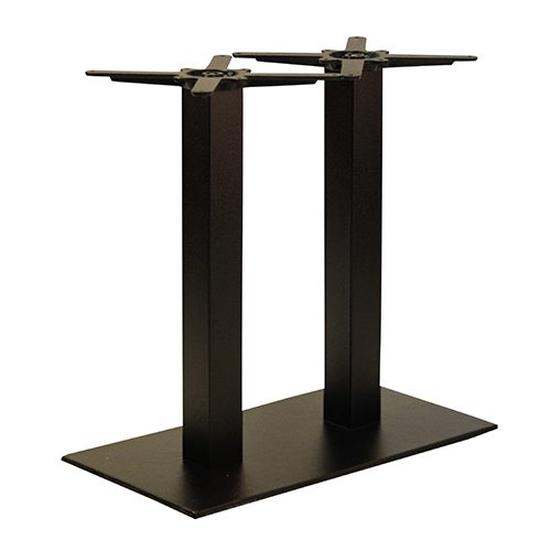An image of NEXT DAY Forza Twin Pedestal Black Outdoor Cast Iron Table Base - Dining Height