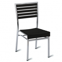 Black aluminium outdoor dining chair