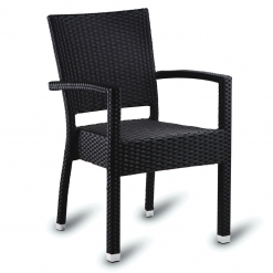 Black PE Resin Weave Outdoor Stacking Arm Chair