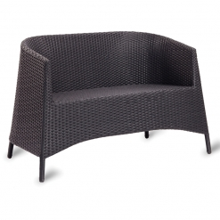 Black PE Resin Weave Outdoor Stacking Twin Tub Chair