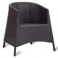 Black PE Resin Weave Outdoor Stacking Tub Chair