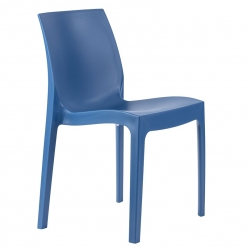 Blue indoor or outdoor polypropylene stacking side chair