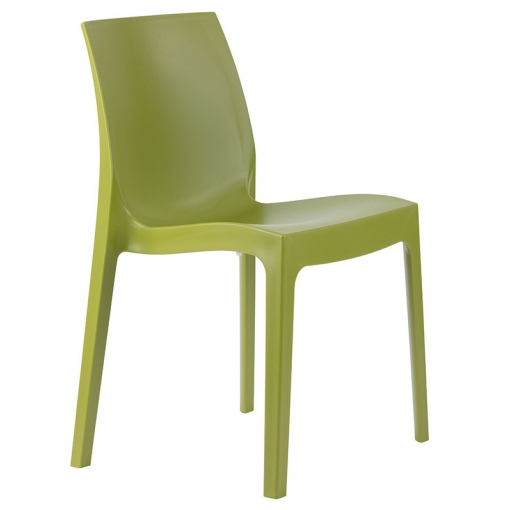 green indoor or outdoor polypropylene stacking side chair