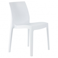 White indoor or outdoor polypropylene stacking side chair