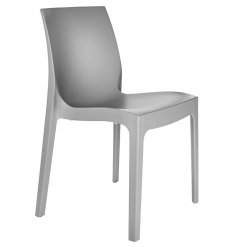 Grey indoor or outdoor polypropylene stacking side chair