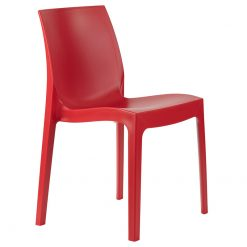 Red indoor or outdoor polypropylene stacking side chair