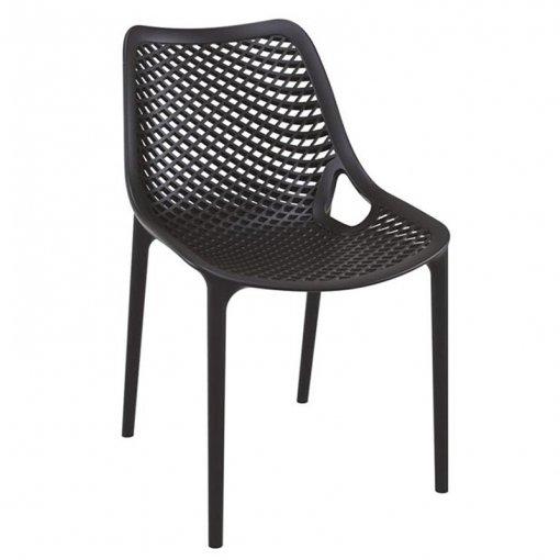Black Polypropylene Indoor or Outdoor Stacking Side Chair