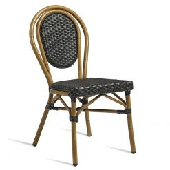 Black Aluminium wicker weave outdoor side chair