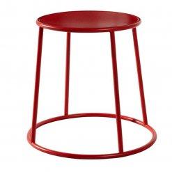 Yellow powder coated metal indoor or outdoor low stool