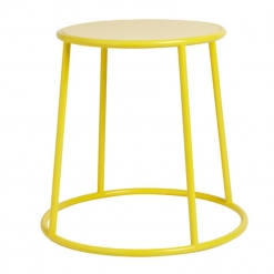 Yellow powder coated metal indoor or outdoor low stool