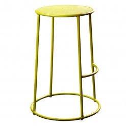 Yellow powder coated metal indoor or outdoor high stool