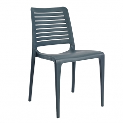 Anthracite indoor or outdoor polypropylene stacking side chair