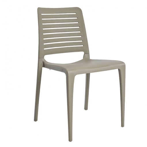 Taupe indoor or outdoor polypropylene stacking side chair