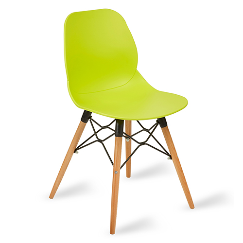 An image of Restaurant Furniture Side Chair Shoreditch Lime - Wooden Frame