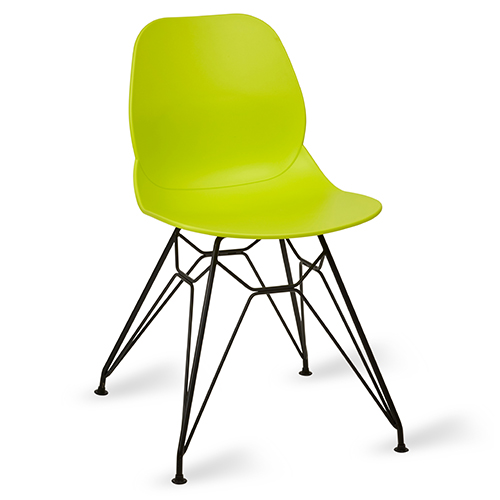 An image of Restaurant Furniture Side Chair Shoreditch Lime - Black Metal Frame