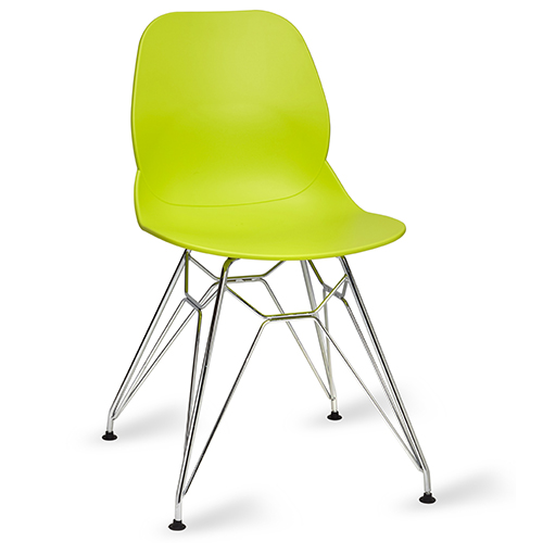An image of Restaurant Furniture Side Chair Shoreditch Lime - Chrome Frame