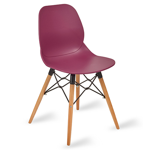 An image of Restaurant Furniture Side Chair Shoreditch Plum - Wooden Frame