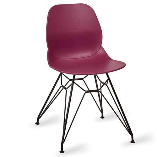 An image of Restaurant Furniture Side Chair Shoreditch Plum - Black Metal Frame