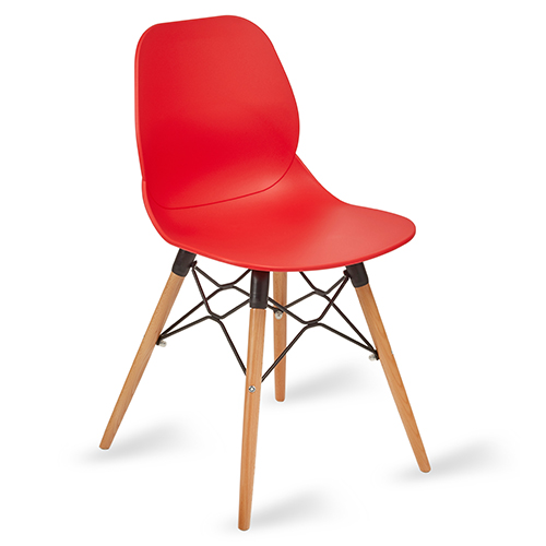 An image of Restaurant Furniture Side Chair Shoreditch Red - Wooden Frame