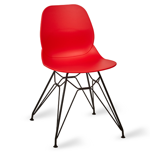 An image of Restaurant Furniture Side Chair Shoreditch Red - Black Metal Frame