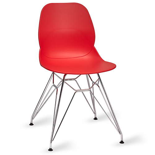 An image of Restaurant Furniture Side Chair Shoreditch Red - Chrome Frame