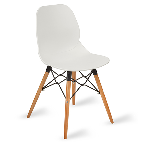 An image of Restaurant Furniture Side Chair Shoreditch White - Wooden Frame