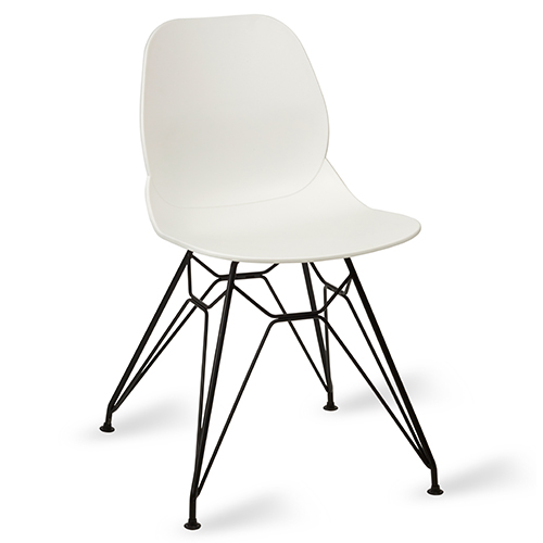 An image of Restaurant Furniture Side Chair Shoreditch White - Black Metal Frame