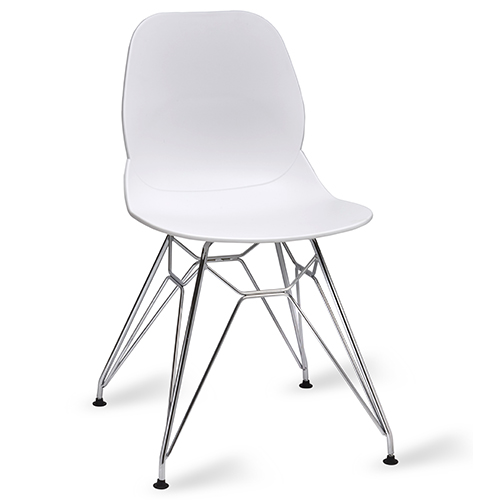 An image of Restaurant Furniture Side Chair Shoreditch White - Chrome Frame