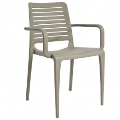 Taupe indoor or outdoor polypropylene stacking arm chair