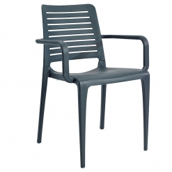Anthracite indoor or outdoor polypropylene stacking arm chair