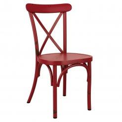 Green Retro Cross Back Aluminium Stacking Side Chair