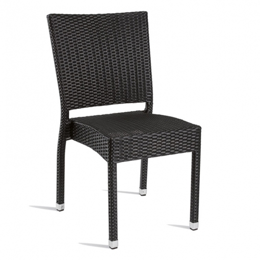 Black Solana Weave Outdoor Side Chair