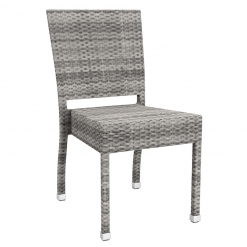 Grey Solana Weave Outdoor Stacking Side Chair