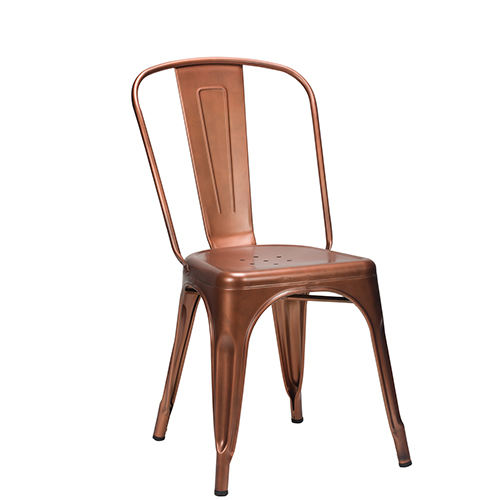 French Bistro Copper Industrial Side Chair