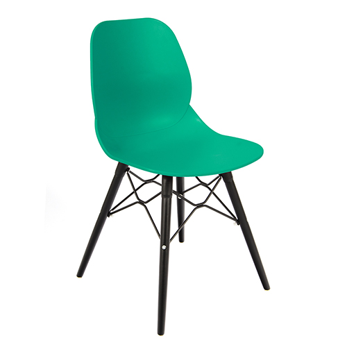 An image of Restaurant Furniture Side Chair Shoreditch Turquoise - Black Wooden Frame
