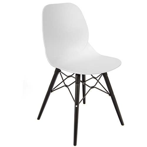 An image of Restaurant Furniture Side Chair Shoreditch White - Black Wooden Frame