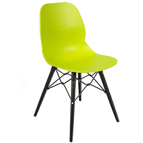 An image of Restaurant Furniture Side Chair Shoreditch Lime - Black Wooden Frame