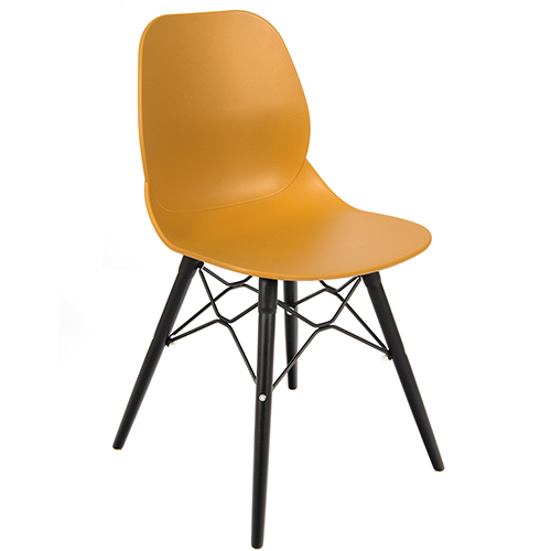 An image of Restaurant Furniture Side Chair Shoreditch Mustard - Black Wooden Frame