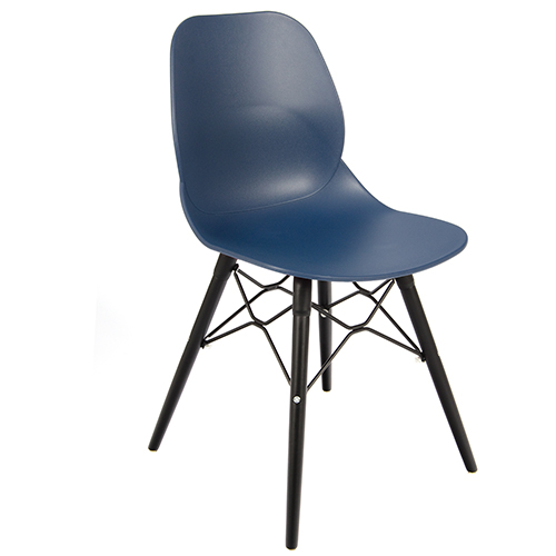 An image of Restaurant Furniture Side Chair Shoreditch Navy - Black Wooden Frame