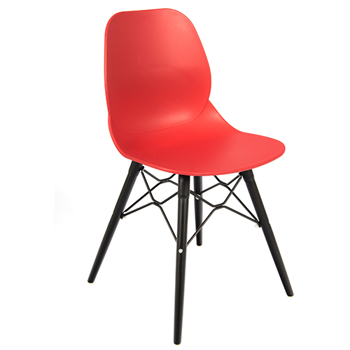 An image of Restaurant Furniture Side Chair Shoreditch Red - Black Wooden Frame